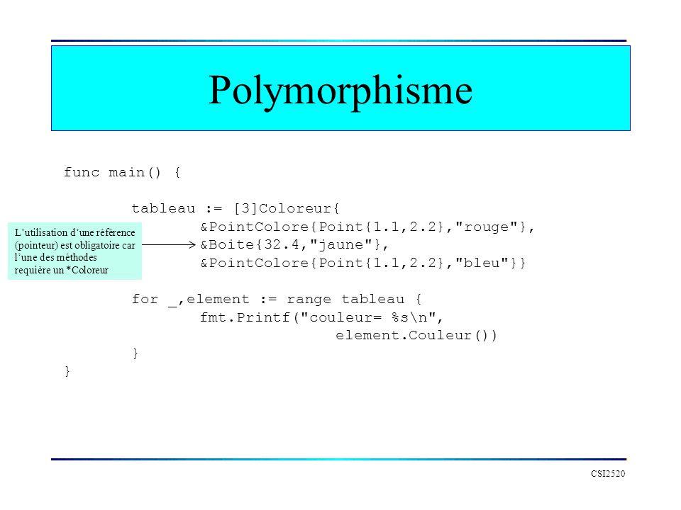 Polymorphisme func main() { tableau := [3]Coloreur{